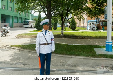 July, 2018, North Korea, Pyongyang - a male traffic controller stands in the central street of the North Korean capital, Pyongyang