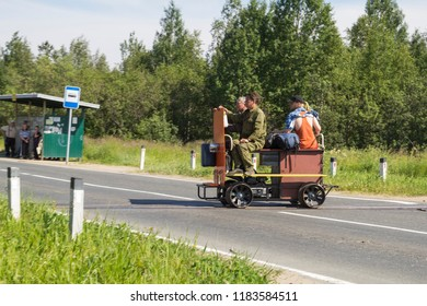 "July, 2018 - Severodvinsk. Homemade motodrezin ""pioneer"" on a narrow-gauge railway. Russia, Kudemskaya narrow-gauge railways"