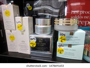July 2019, Braine l'Alleud, Belgium. Planet Parfum, Estee Lauder and Roger & Gallet discounted products