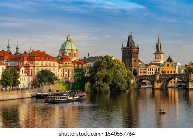JULY 2019: Charles Bridge Prague in Czech Republic