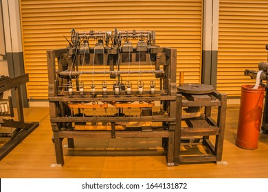July 2019. One of the first wooden loom. Toyoda museum.Nagoya.Japan.