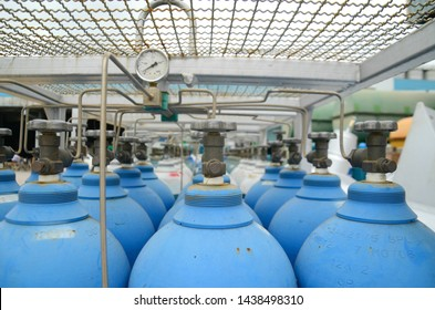 July 2019 in Rayong Thailand. Nitrogen gas pack (N2) supply tank storage for push or flushing to hydrocarbon in pipeline for maintenance work and installed in a chemical plant, petrochemical.