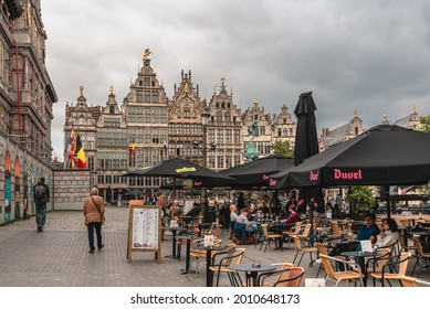 July 2021, The Grote Markt (Great Market Square) of Antwerpen (Antwerp), Belgium. It is a town square situated in the heart of the old city quarter of Antwerpen. Cityscape of Antwerp.