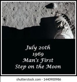 july 20th, 1969 mankind takes its first step on the moon (some elements courtesy of nasa)