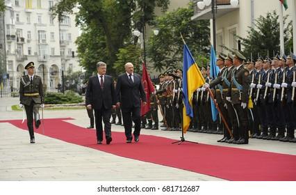 July 21, 2017. Kiev, Ukraine.  President of Ukraine Petro Poroshenko and President of Belarus Alexander Lukashenko review Ukraine's honor guard during an official ceremony of meeting