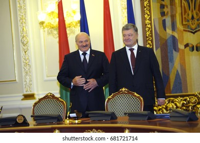 July 21, 2017. Kiev, Ukraine. Meeting of President of Ukraine Petro Poroshenko and President of Belarus Alexander Lukashenko