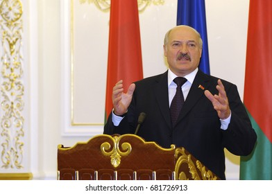 July 21, 2017. Kiev, Ukraine. Briefing of President of Belarus Alexander Lukashenko