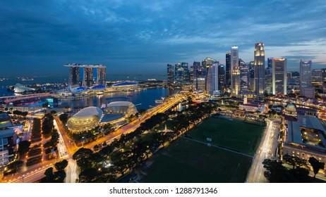 July 21, 2018 - Singapore, Singapore: Singapore Marina Bay Aerial View during blue hour