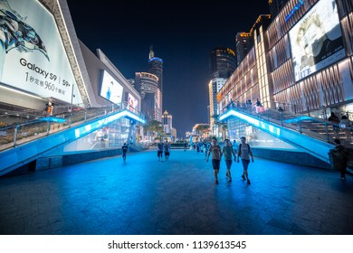 July 21, 2018 - Street view of Huaqiang  Road, Shenzhen at night.
