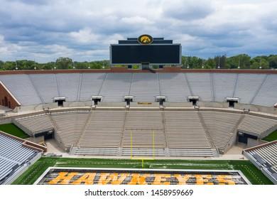 July 21, 2019 - Iowa City, Iowa, USA: Aerial Views Kinnick Stadium, is the home stadium of the University of Iowa Hawkeyes.