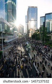 JULY 21, 2019: Thousands of hundreds of protesters march urging the withdrawal of the extradition bill and independent investigation of police violence.