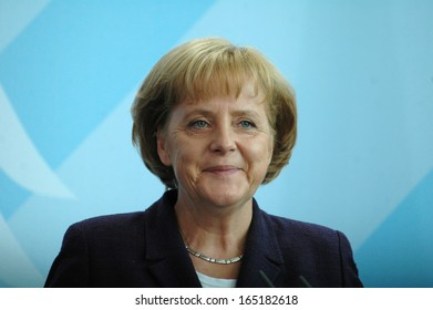 JULY 22, 2008 - BERLIN: German Chancellor Angela Merkel during a press conference after a meeting with the Iraqi Prime Minister in the Chanclery in Berlin.