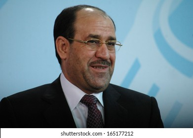 JULY 22, 2008 - BERLIN: Iraqi Prime Minister Nouri Al-Maliki during a press conference after a meeting with the German Chancellor in the Chanclery in Berlin.