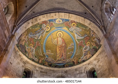 July 22, 2016, Lund, Sweden, Christ on the skys of heaven. Mosaic in the apse of Lund cathedral