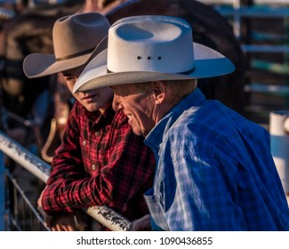 JULY 22, 2017 NORWOOD COLORADO - cowboy in plad shirt watches San Miguel Basin Rodeo, San Miguel County Fairgrounds