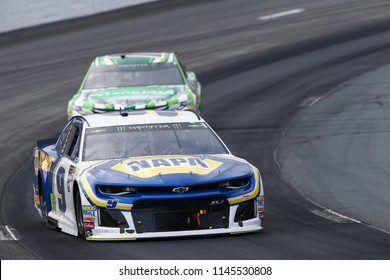 July 22, 2018 - Loudon, New Hampshire, USA: Chase Elliott (9) battles for position during the Foxwoods Resort Casino 301 at New Hampshire Motor Speedway in Loudon, New Hampshire.