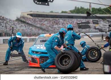 July 22, 2018 - Loudon, New Hampshire, USA: Darrell Wallace, Jr (43) makes a pit stop during the Foxwoods Resort Casino 301 at New Hampshire Motor Speedway in Loudon, New Hampshire.