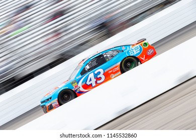 July 22, 2018 - Loudon, New Hampshire, USA: Darrell Wallace, Jr (43) races off turn four during the Foxwoods Resort Casino 301 at New Hampshire Motor Speedway in Loudon, New Hampshire.