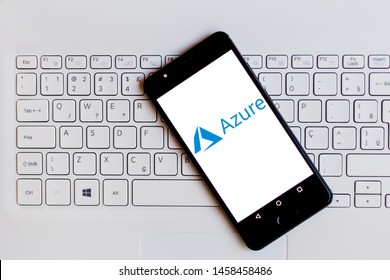July 22, 2019, Brazil. In this photo illustration the Microsoft Azure logo is displayed on a smartphone.