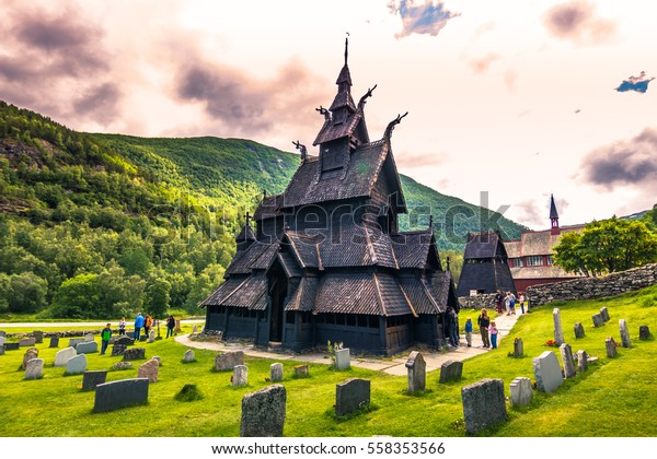 July 23, 2015: The stave church of Borgund in Laerdal, Norway