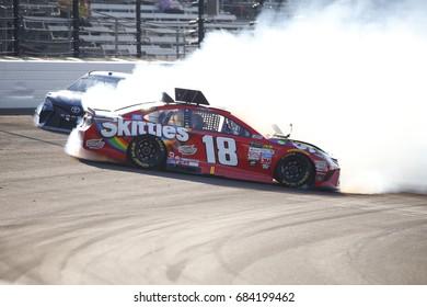 July 23, 2017 - Speedway, Indiana, USA: Kyle Busch (18) and Martin Truex Jr. (78) collide in turn 1 during the Brickyard 400 at Indianapolis Motor Speedway in Speedway, Indiana.
