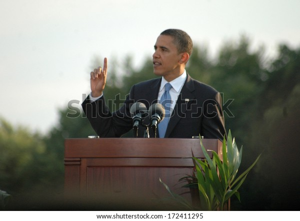 """JULY 24, 2008 - BERLIN: Barack Obama - speech of the democratic candidate for US presidency at the """"Siegessaeule"""" (Victory Column) in the Tiergarten district of Berlin."""