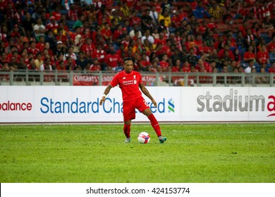 July 24, 2015- Shah Alam, Malaysia: Liverpool's Nathaniel Clyne dribbles the ball in the friendly match against the Malaysian team. Liverpool Football Club from England is on an Asia tour.