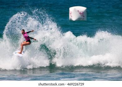 July 24 2016 Oceanside CA Professional surfer Nikki Van Dijk Shreds it  at the Paul Mitchell Supergirl Pro in Oceanside CA