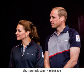 July 24 2016 Portsmouth, UK,  The Duke and Duchess of Cambridge arrive in Portsmouth for the Americas Cup World Series event.