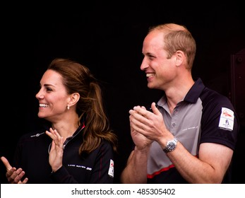 July 24 2016 Portsmouth, UK,  The Duke and Duchess of Cambridge applaud the arrival onshore of the sailors taking part in the Americas Cup World Series.