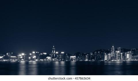 July 24, 2016 - Victoria Harbor, Hong Kong: Night scenes of Hong Kong Island view from Tsim Sha Tsui Kowloon.