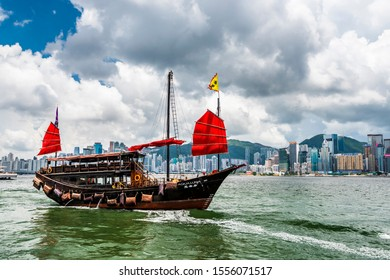July 24, 2019: Ancient Chinese sail ship of Duk Ling in Victoria Harbour, Hong kong.