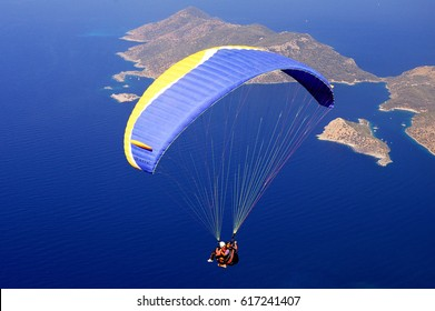 July 25, 2005. Parachuting & Paragliding in Oludeniz Fethiye Turkey.
