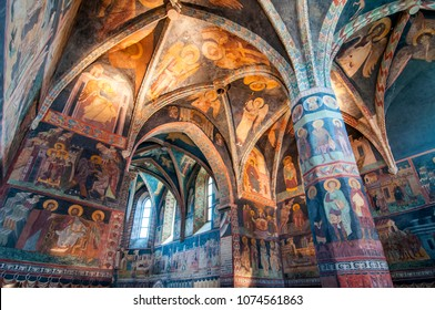 July 25, 2015. Medieval frescoes in Chapel of the Holy Trinity at Lublin Castle, Poland.