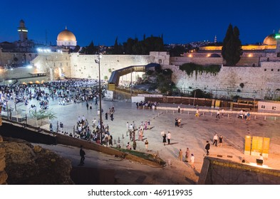 July 25th 2016, people gathering at the Wailing Wall in Jerusalem to celebrate, night scenery, 25th July 2016