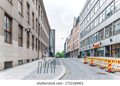 July 26, 2013. View of Oslo streets and Bicycle Parking. Area of the center of Oslo. Editorial