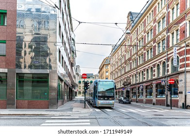 July 26, 2013. View of the streets of Oslo, Norway. The area of the Central station in Oslo. Tourists walk along the Central streets of the city.