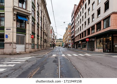 July 26, 2013. View of the streets of Oslo, Norway. Area of the center of Oslo. Tram tracks and pedestrian crossings on the street. Editorial