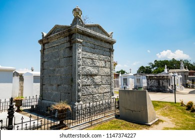 July 26. 2018. Grave site at the Historic Saint Louis Cemetery #3 in New Orleans with above ground crypts. New Orleans, Louisiana, USA