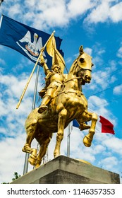 July 26. 2018. Joan of Arc Maid of Orleans. Statue at the French Quarter. New Orleans, Louisiana, USA