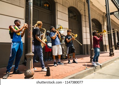 July 26. 2018. Local Jazz band musicians performing on the French Quarter. New Orleans, Louisiana, USA