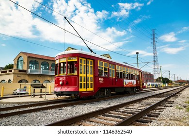 July 26. 2018. Mississippi Riverfront Streetcar at Dumaine St. Station RTA at the French Quarter. New Orleans, Louisiana, USA