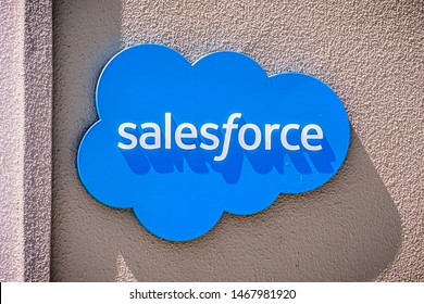 July 26, 2019 Palo Alto / CA / USA - Salesforce at their entrance to their Silicon Valley offices; Salesforce.com, Inc. is an American cloud-based software company headquartered in San Francisco