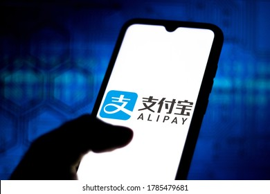 July 26, 2020, Brazil. In this photo illustration the Alipay logo seen displayed on a smartphone