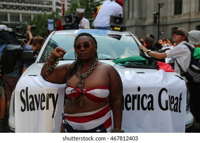 July 26th, 2016 Philadelphia, PA: Democratic National Convention - One of the organizers of the Black Lives Matter march through Philadelphia, dons chains around her neck in protest of equality