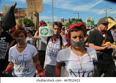 July 26th, 2016 Philadelphia, PA: Democratic National Convention - Demonstrators march with Black Lives Matter, wearing duct tape over their mouths, and symbolic blood on their hands