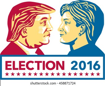 July 27, 2016: Illustration showing Republican Donald Trump versus Democrat Hillary Clinton face-off for American president with words Election 2016 on isolated background done in stencil retro style