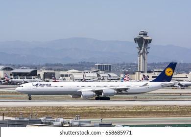 July 27, 2016. Los Angeles International Airport (LAX). Lufthansa, Airbus A340-642