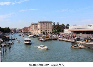 July 27, 2016, Venice, Veneto, Northern Italy. View of Grand Canal with vaporetto (waterbus). Popular touristic european destination. Venice city view
