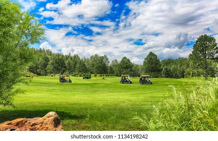 July 27, 2017. New Mexico's Inn of the Mountain Gods mountain resort, golf courses- one of the most spectacular golf courses in the country. HDR image.